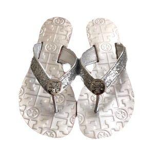Tory Burch Glitter Silver Metallic Thora Sandals